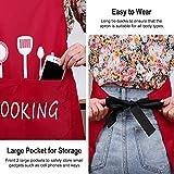 MengH-SHOP Schürze Unisex Kochschürze Wasserdicht Latzschürze mit 2 Taschen und Verstellbar Nackenband Professionell Kellnerschürze Backschürze Grillschürze Latzschürze (Rot) - 3