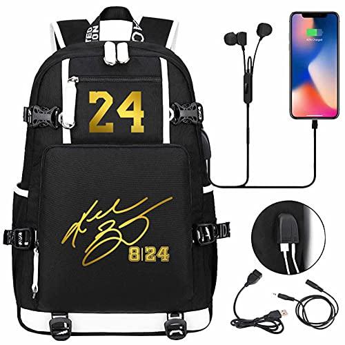 AGLT E9 - Mochilas para niños, diseño de la NBA, con doble hombro, para hombres y mujeres, color negro