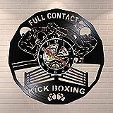 wtnhz LED Reloj de Pared de Vinilo Colorido Kick Boxing Gym Decoración Reloj Sandbag Invaders Disco de Vinilo Reloj de Pared Lucha Deportes Raspador Regalo
