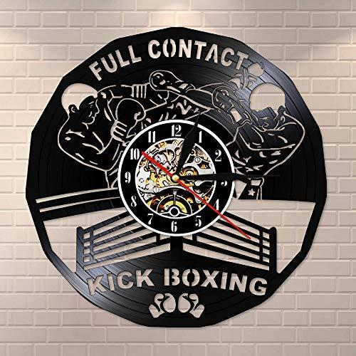 BFMBCHDJ Kick Boxing Gym Dekor Uhr Boxhandschuhe Boxsack Infighters Vinyl Record Wanduhr Kampf Sport Boxer Scrappers Geschenk