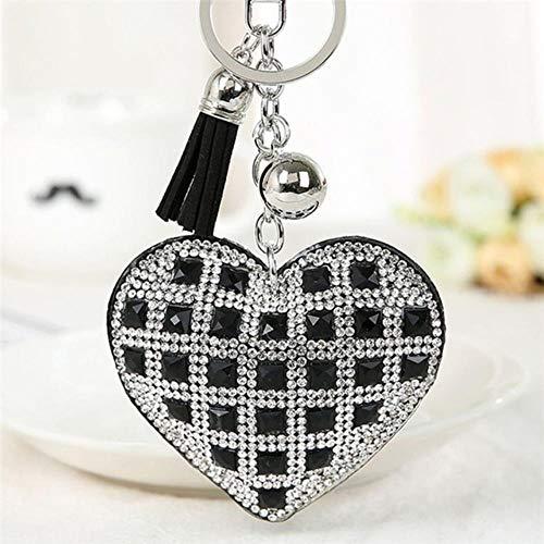 Huien sleutelhanger vrouwen meisje volledig glazen kralen sleutelhanger kristal aangepaste sleutelhangers voor koppels vrienden familie geschenken, zwart