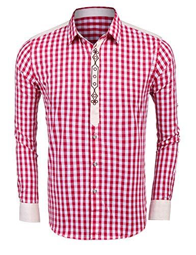 Burlady Hemden Herren Karriert Trachtenhemden Regular Fit Langarm Männer Freizeithemden Karohemden Plaid Shirt Oberteil Oktoberfest