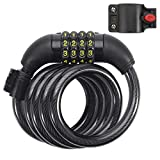 DadyMart Bike Lock, 4 Feet Self Coiling Bike Cable Lock, 4-Digit Resettable Combination Lock with Mounting Bracket for Bicycle, Gate, Fence, 1/2 Inch Diameter, Black