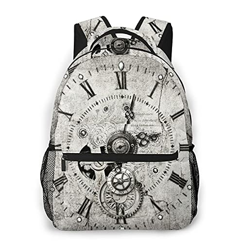MEJX Mochila Paquete de Almacenamiento,Reloj Steampunk,Casual Bolsa de Estudiantes de la Escuela Mochila Portátil de Viaje