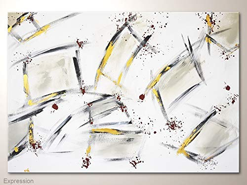 Wandbild Abstrakt in Grau Weiß Silber mit Gold und Braun Akzenten