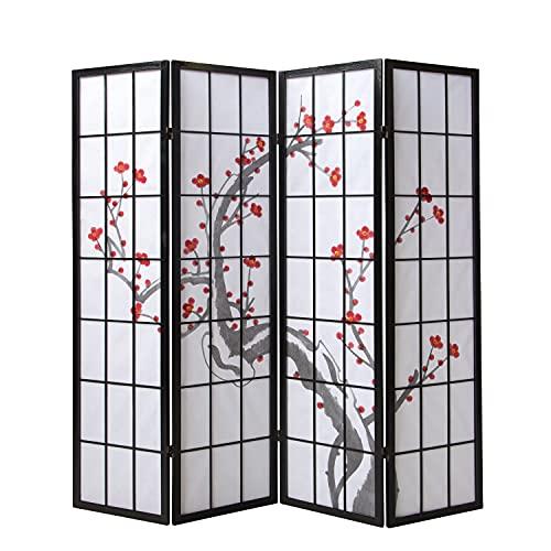Homestyle4u 150, Paravent Raumteiler 4 teilig, Holz Schwarz, Reispapier Weiß, Kirschblüten Motiv