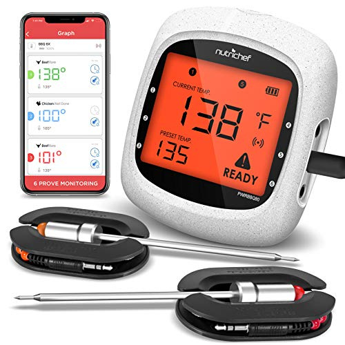 NutriChef Smart Bluetooth BBQ Grill Thermometer - Upgraded Stainless Dual Probes Safe to Leave in Outdoor Barbecue Meat Smoker - Wireless Remote Alert iOS Android Phone WiFi App, One Size, PWIRBBQ80