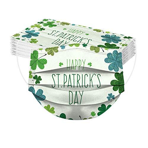 Happy St Patrick's Day Muster Einmal-Gesichtsmaske Irland Mundschutz Atmungsaktiv 3-lagig Mund-Nasen-Schutz Multifunktion Bandana Bedeckung Halstuch Unisex Bandana Mundbedeckung (20PC)