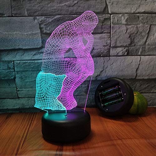 3D Illusion LED Night Light, LED-Tisch-Schreibtisch-Lampen, 7 Farbwechsel,Woodman Geschenk Licht