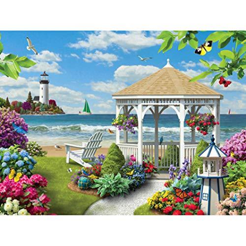 Diamant-schilderij, rond, motief paviljoen aan zee, mozaïek, diamantschildering, kruissteek, borduurwerk, decoratie thuis 45x60cm/18x24in