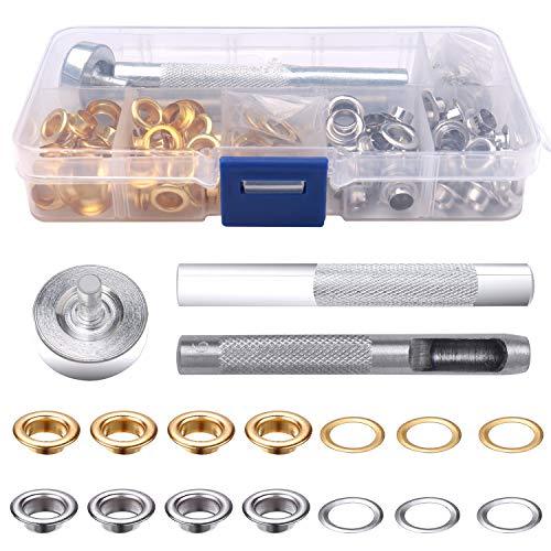 nuoshen Ösen Set 6mm, 100 sets Ösen Scheiben in 2 Farben mit 3tlg Werkzeug und Aufbewahrungsbox Ösenzange Set for Lederplanen und Andere Stoffe (Gold und Silber)