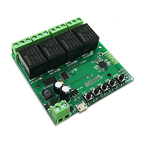 Módulo WiFi inteligente de 4 canales relé inteligente de 12 V para Tuya Alexa para Goolge Home Tuya App Control Inalámbrico Inching Autobloqueo