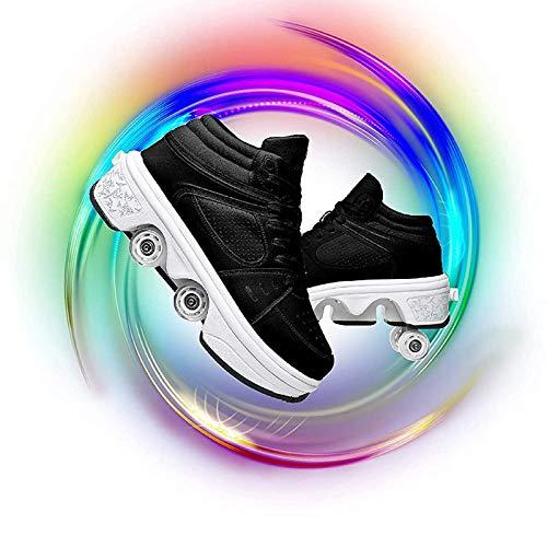 R&P Deformación Polea Zapatos 4 Rueda Patines En Paralelo Multiusos 2 En 1 Skate Ligeros Calzado, Unisex, Deportes Al Aire Libre,42