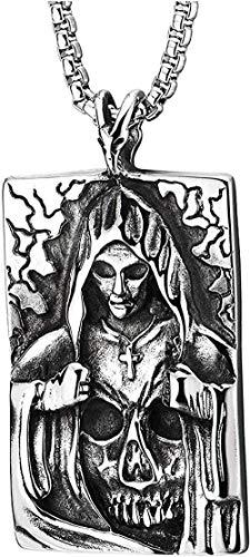 Aluyouqi Co.,ltd Vestido con Capucha de Acero para Hombre, Collar con Colgante de Cruz con Forma de Calavera y Chapa de Perro, Dos Caras, Negro Oxidado, 30 Cadenas