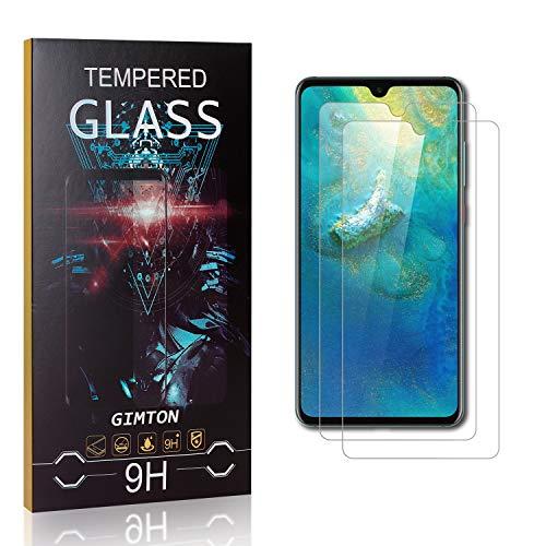 GIMTON Displayschutzfolie für Huawei Mate 20, 99% Transparenz Blasenfrei Schutzfilm aus Gehärtetem Glas für Huawei Mate 20, 9H Härte, Anti Kratzen, 2 Stück