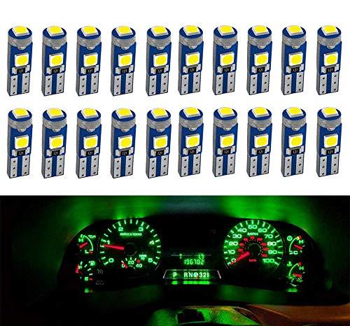 DEFVNSY 20pcs Verde T5 W3W 73 74 286 17 57 27 70 86 2721 Super Brillante 3-3030SMD Bombilla LED para indicador de cuña Lateral del Coche Tablero de Instrumentos Lámpara de Luces 12V