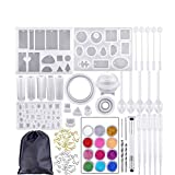 83 PCS Resin Casting Molds and Tools Set,Jewelry Craft Moulds with Drill and Bag,silicone casting molds and tools set for diy jewelry craft making (94PCS)