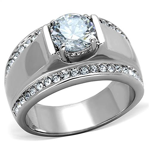 MEN'S 2.25 CT ROUND CUT Cubic Zirconia, Silver STAINLESS STEEL RING Size 11