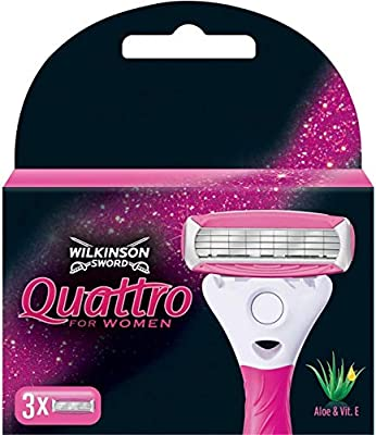Wilkinson Sword Quattro for Women, Blades with Aloe & Vit. E, 3 Pieces from Wilkinson Sword