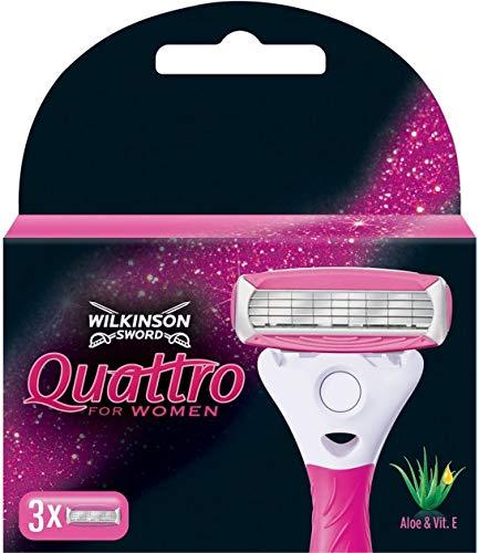 Wilkinson Sword - Quattro - Afeitar con 4 palas para mujeres, con Aloe y Vitamin E  - 3 unidades