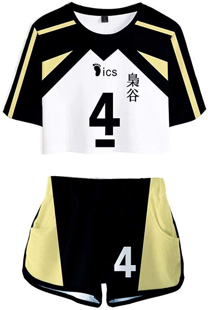 Haikyuu T-shirts Hinata Shoyo Cosplay Costume kageyama tobio 2 Piece Crop Top and Short Pants Sets for Women