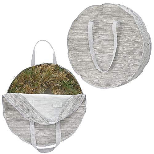 mDesign 2er-Set Stoffbeutel für Kränze – große Tragetasche aus Kunstfaser für Tür- und Adventskränze – Stofftasche mit Griffen in strukturierter Optik – grau und beige
