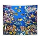 Manta Tapiz Para Colgar En Pared,Acuario Colorido Con Diferentes Peces Nadando, Estera Picnic Decoración Sala Estar,50x60'