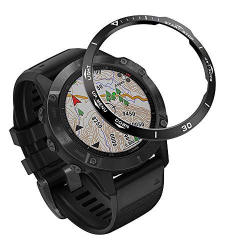 VENTER Acero Inoxidable Anillo Bisel Compatible con Garmin Fenix 6/6 Pro Watch, Bezel Ring Adhesive Cover Protector Anti arañazos y colisiones para Garmin Watch Accessory(Black-2)