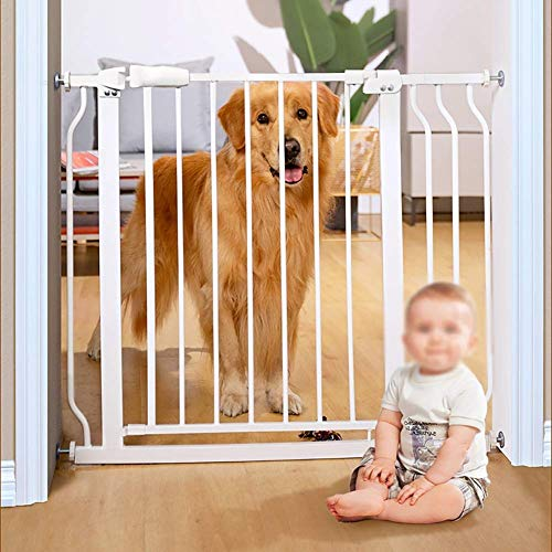 ZPLHX Extra Walk through Pet Gate with Large Pet Door, Double Door Puppy Safety Fence, Includes Pressure Mount Kit, for Spaces and Open Floor Plans (Color : H92CM, Size : W122-133.9CM)