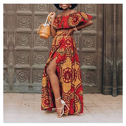 Mujer Vestido Largo Impresión Vestir La Longitud del Piso Fuera del Hombro Falda Elástica Dos Piezas Africano Dashiki Vestido Largo,C,S