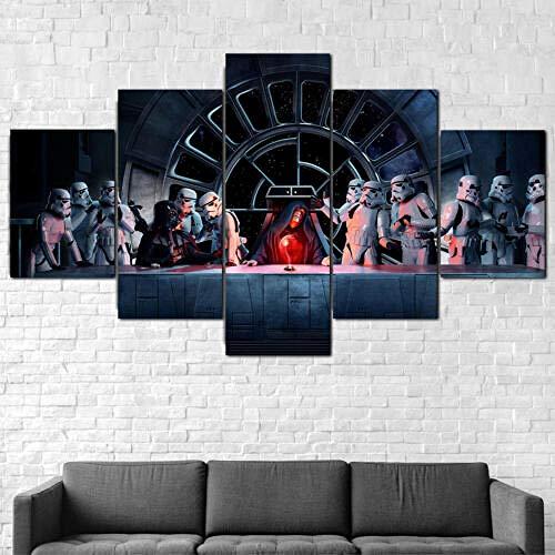 183Tdfc Darth Vader Kaiser 5 Teilig Leinwand Hd Bilder Wandbilder Tapete Gemälde Leinwanddrucke Modern Wohnzimmer Dekoration Geschenk Landschaft Die Stadt Tier Animation