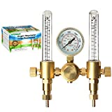 Argon Regulator Dual Co2 Flowmeter by Manatee for TIG MIG Welder Gas and backpurge 60 SFCH - CGA 580 inlet connection and 5/8' x 18RH outlet fitting - Accurate Gas Metering Delivery System