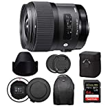 Sigma 35mm f/1.4 DG HSM Art Lens for Canon EF Bundle with USB Dock + 64GB Extreme PRO SD Card & Complete Travel Kit