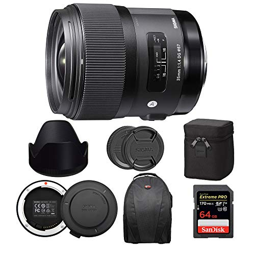 Sigma 35mm f/1.4 DG HSM Art Lens for Canon EF Bundle with USB Dock + 64GB Extreme PRO SD Card...
