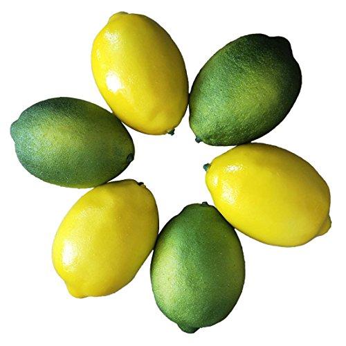 Lorigun Künstliche Zitrone Simulation Lebensechte Zitronen Gelbe Zitrone & Grün Kalk Gefälschte Obst für Home Kitchen Dekoration 6 stücke