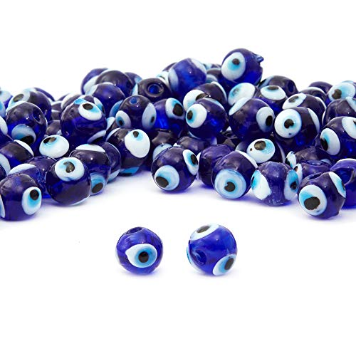 Glass Evil Eye Beads for Jewelry Making, DIY Arts and Crafts Projects (0.39 In, 150 Pieces)
