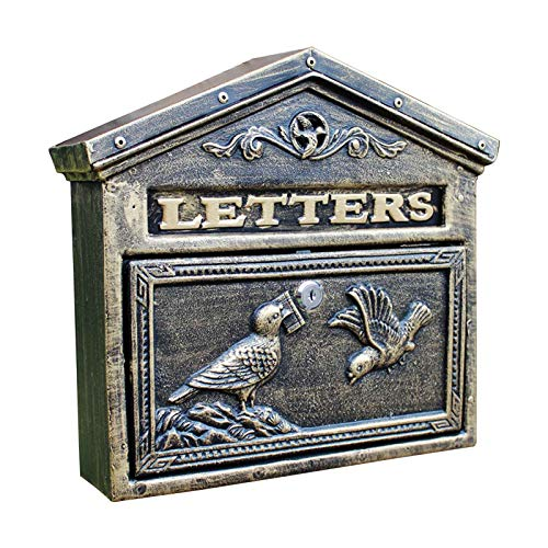 QLLL Briefkasten Antik, Wand Briefkasten, 34,5 X 8,5 X 31,7 cm, Bronze, Grün