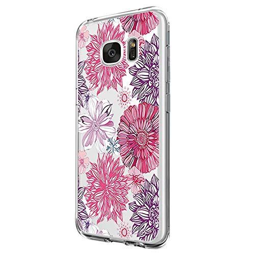 Riyeri Custodia Compatibile with Samsung Galaxy S7 Edge Cover Trasparente Morbida in Silicone TPU Impermeabile Case per Samsung S7 Phone - Fiore Serie (S7 Edge, 1)
