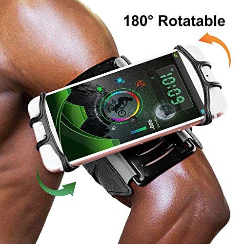 Universelles Running Armband,180 ° Umdrehung Open Face Sport Armband Training Handy Halter mit Schlüsselhalter für iPhone/Android Damen Herren Wandern Radfahren Walking Armband