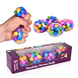 DNA Squish Stress Ball (4-Pack) Squeeze, Color Sensory Toy - Relieve Tension, Stress - Home, Travel and Office Use - Fun for Kids and Adults (Squishy)