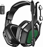 Mpow Iron Pro Wireless Gaming Headset for PC, PS4,Mac, Wired 3.5mm for Xbox & Wireless USB Over-Ear Headphone with Surround Sound, Noise Cancelling Mic, 20H Battery Life, Soft Memory Earpad for PS4