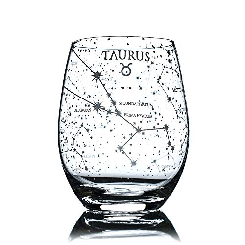 Greenline Goods Taurus Stemless Wine Glass   Etched Zodiac Taurus Gift   15 oz (Single Glass) - Astrology Sign Constellation Tumbler