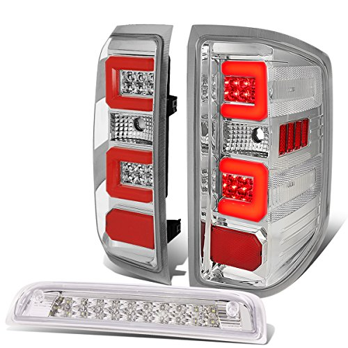 3D LED Tail Lights Bundle with Third Brake Lamp Replacement for Chevy Silverado 14-19, Pair, Chrome Housing Clear Lens