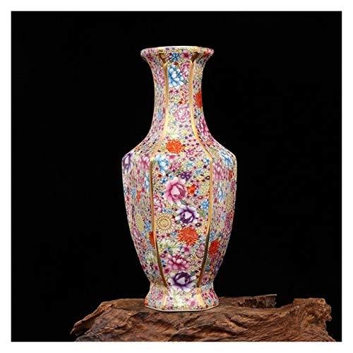 jinyi2016SHOP Maceta Jingdezhen Antiguo Discotecas Qing Dynasty Qianlong Esmalte Golden Flores Hexagonales Jarrón Adornos de Colección Antigua con Agujero De Drenaje Macetas