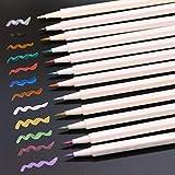 Bolígrafo De Vidrio, 12 Bolígrafos De Acuarela Perla En Diferentes Colores, Adecuados Para Tarjetas De álbum, Tarjetas De Felicitación (cabeza De Pincel)