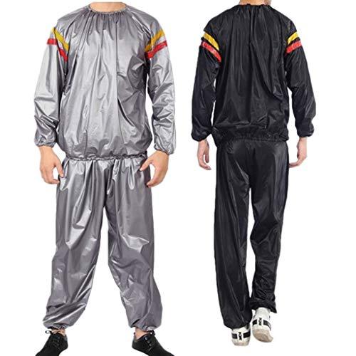 EDC_ Men Suits & Sets Sauna Suit Heavy Duty Sauna Sweat Suit Exercise Training Gym Suit Fitness Plus Size Weight Loss Anti-Rip (XXXL, Black)