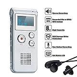 COVVY Grabadora de Voz Dictáfono LCD USB Grabadora de Voz Digital Profesional Portátil Reproductor MP3 de Larga Duración Batería Recargable-8GB (Plata)