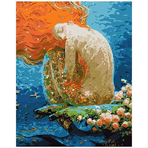 BPAINTF Pintura por números DIY Flores y Sirena Durmiente F