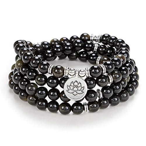 Prayer Yoga Jewelry Lotus Seed Charm Wrist Bracelet Mala Beads 108 Rosary Necklace Meaningful Handmade Gifts (Gold Obsidian)