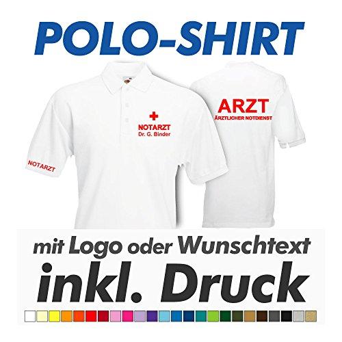 hanse graphics Polo Shirt, Weiss, Fruit of The Loom, inkl. Ihrem Wunschtext/Logo Druck Werbedruck